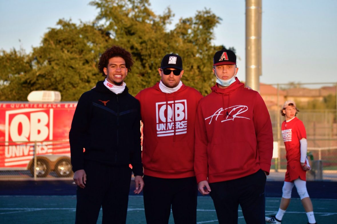 Casey Gillin with Casey Thompson (QB Texas) and Spencer Rattler (QB Oklahoma)